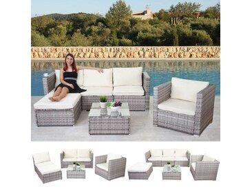 4-Sitzer Lounge-Set Cresson aus Polyrattan mit Polster