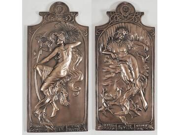 2-tlg. Wanddekoration-Set Bronze Art Deco Summer and Winter French Season