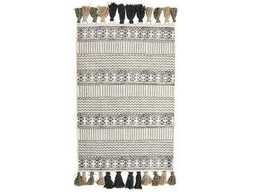 Teppich aus Baumwolle in Creme/Grau