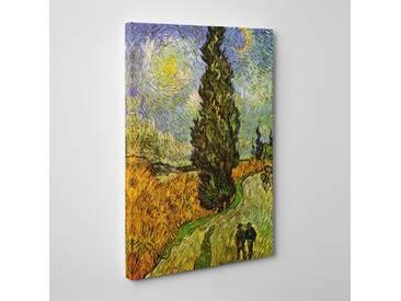 Leinwandbild Cypresses Road Kunstdruck von Vincent Van Gogh