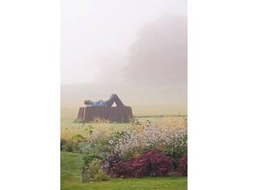 Leinwandbild Glyndebourne, East Sussex: The Main Lawn in Mist with Sculpture in Bronze and Cor - Ten Steel von Clive Nichols