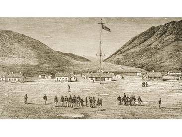 Leinwandbild Fort Douglas Camp and Red Buttes Ravine Near Salt Lake City, Utah, 1870s, C. 1880, Kunstdruck von Reverend Samuel Manning