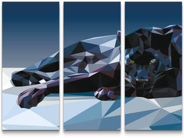 3-tlg.Leinwandbilder-SetGeometrischer Panther