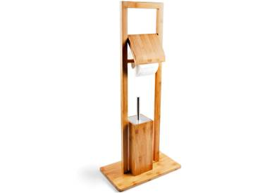 Free Standing Bamboo Toilet Brush and Paper Roll Holder with Hygienic Container