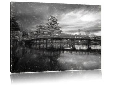 Leinwandbild Wunderbarer asiatischer Tempel am See