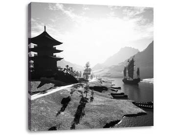 LeinwandbildBeeindruckender asiatischer Tempel an Fluß
