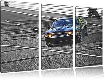 3-tlg. Leinwandbilder-Set Elegante schwarze Dodge Challenger, Grafikdruck