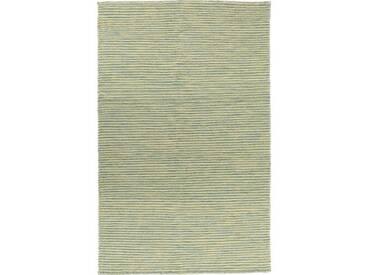 Handgefertigter Kelim-Teppich Leonardo aus Wolle in Olivgrün