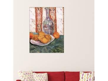 Gerahmtes Holzbild Stillleben mit Flasche und Zitronen auf einem Teller von Vincent van Gogh