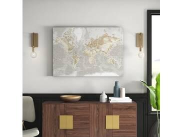 Leinwandbild World Map, Grafikdruck in Beige