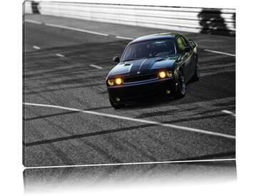 Leinwandbild ,,Elegante schwarze Dodge Challenger von Ariesps, Grafikdruck