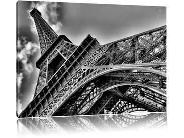 Leinwandbild Gigantischer Eifelturm Paris in Monochrom