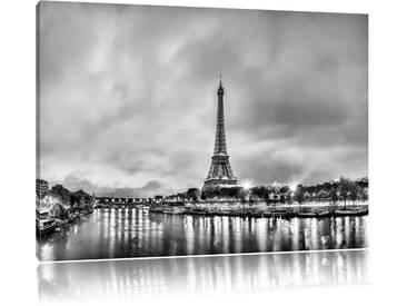 Leinwandbild Eifelturm Paris bei Nacht in Monochrom