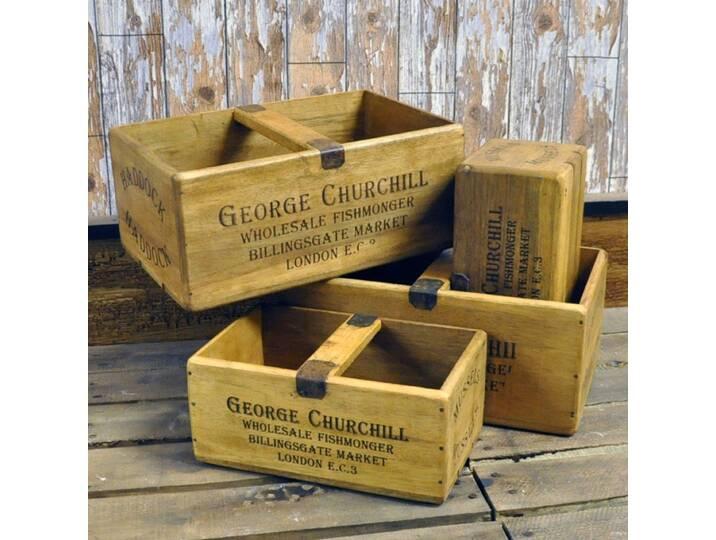 4-tlg. Kisten-Set aus Holz Braun