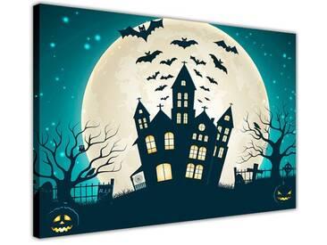 Leinwandbild Halloween Dekoration Kirche bei Vollmond und fliegende Fledermäuse, Grafikdruck