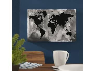 "Leinwandbild ""Maps and Flags Black and White World Map, Grafikdruck"