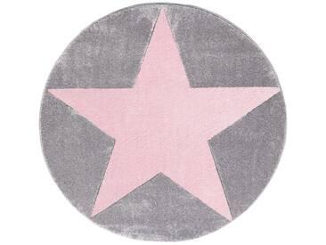 Teppich  Star Rund in Silbergrau/Rosa