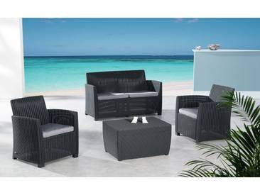 4-Sitzer Lounge Set Bali aus Polyrattan mit Polster