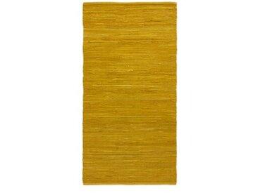 Handgefertigter Teppich aus Baumwolle in Bernstein