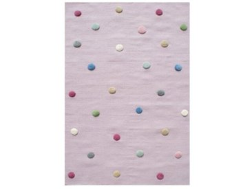 Handgefertigter Kinderteppich Colordots aus Wolle in Rosa