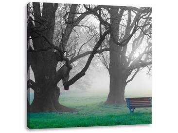LeinwandbildEinsame Bank im Nebel
