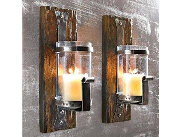 Wandkerzenhalter Wood aus Eisen / Holz