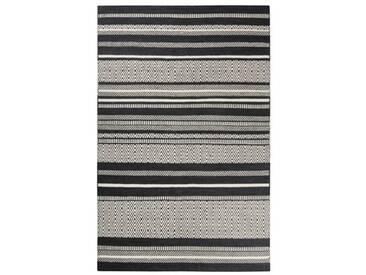 Handgefertigter Teppich Hudson aus Wolle in Grau