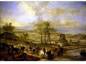 Poster Departing for The Hunt and Fishing in The River, Kunstdruck von Philips Wouwermans oder Wouwerman