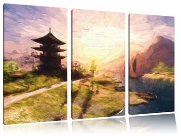 """3-tlg. Leinwandbilder-Set """"Beeindruckender asiatischer Tempel am Fluss"""", Grafikdruck"""