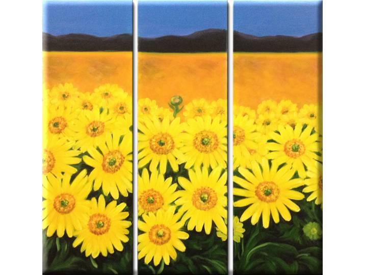 ´Field of Sunflowers´ Oil Painting Print Multi-...