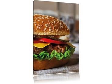 Leinwandbild Burger Hamburger Cheesburger Käse Fast Food, Fotodruck