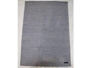 Handgefertigter Kelim-Teppich Leonardo aus Wolle in Aquamarin