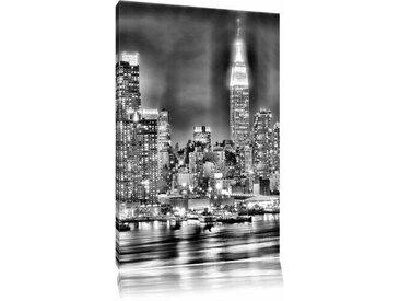 Leinwandbild New York City, Skyline Brücke bei Nacht in Monochrom