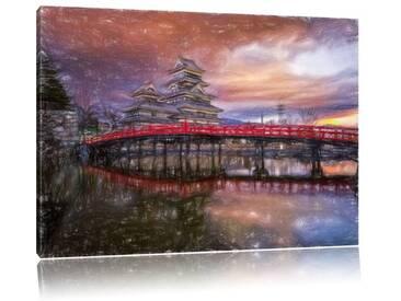 "Leinwandbild ""Wunderbarer, asiatischer Tempel am See"", Grafikdruck"