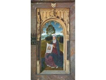 Leinwandbild St. Veronica, from The Reverse of The Triptych of Jan Floreins, 1479, Kunstdruck von Hans Memling