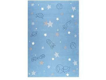Handgefertigter Teppich Han in Hellblau