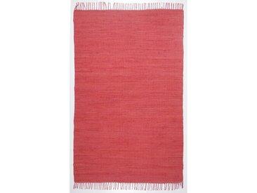 Handgewebter Baumwollteppich Aarush in Rot