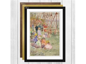 "Gerahmtes Poster ""Swings Revere Beach"" von Maurice Prendergast, Kunstdruck"