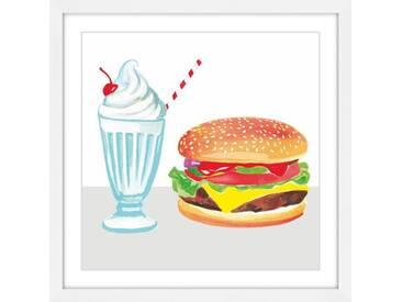 "Gerahmtes Leinwandbild ""Burger & Shake"" von Molly Rosner, Kunstdruck"