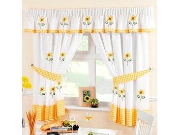 Gardinen-Set Sonnenblumen mit Kräuselband