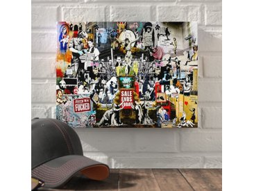 """Leinwandbild """"Dark Collage"""" von Banksy, Grafikdruck"""