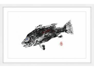 Gerahmtes Papierbild Cubera Black and Red von Andrew Clay