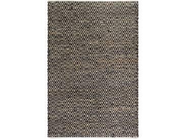 Handgefertigter Teppich Faska Madera in Natur/Schwarz
