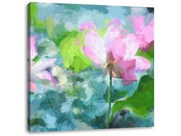 LeinwandbildAsiatische rosa Lotusblüte im Teich