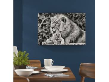 Leinwandbild Lieber Löwe mit Jungtier in Monochrom