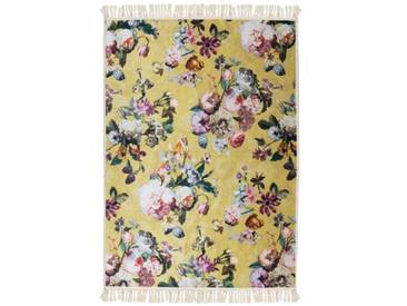 Flachgewebe-Teppich Fleur in Gelb