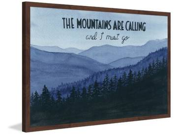 Gerahmtes Papierbild The Mountains Are Calling von Glenda Roberson