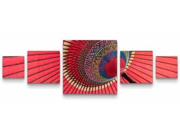 5-tlg.Leinwandbilder-SetAsiatischer Regenschirm