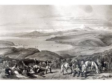 "Gerahmtes Poster Distant View of the Aconcagua Volcano, from ""Historia de Chile von Claudio Gay, Kunstdruck"