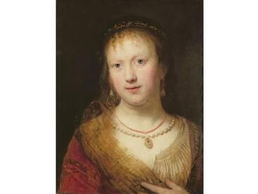 Leinwandbild Portrait of Saskia, After by Her Husband Rembrandt Harmens. Van Rign von Johann Andreas Joseph Franke, Kunstdruck